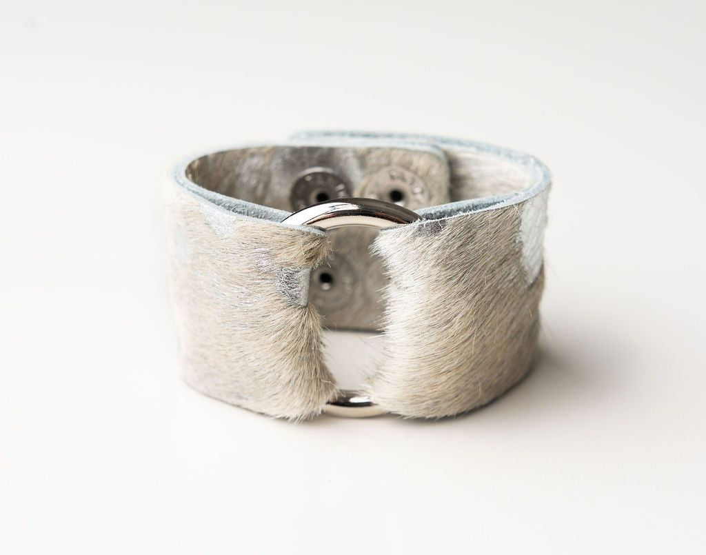Silver Foil Wide Leather Cuff