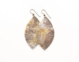 Gold and Bronze Shimmer Leather Earrings