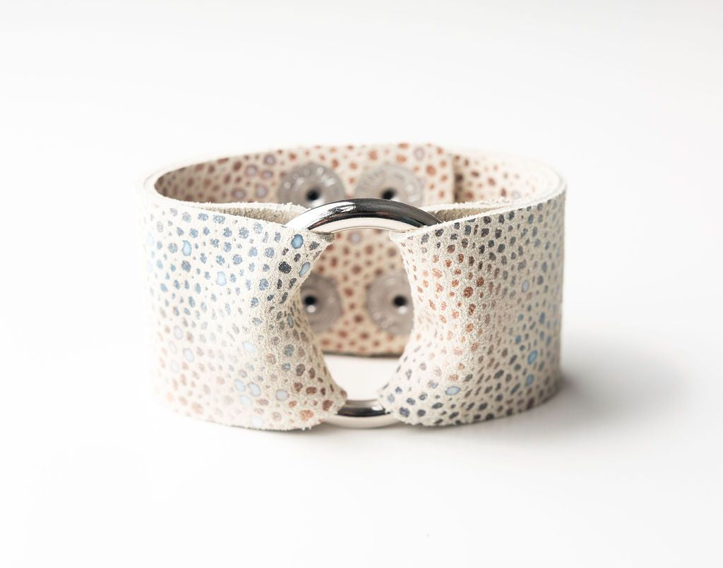 Multi Color Speckled on Cream Wide Leather Cuff