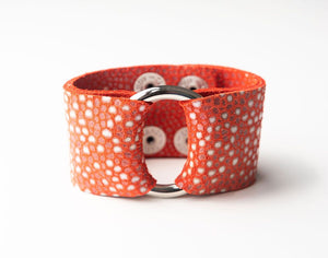 Coral Speckled Wide Leather Cuff