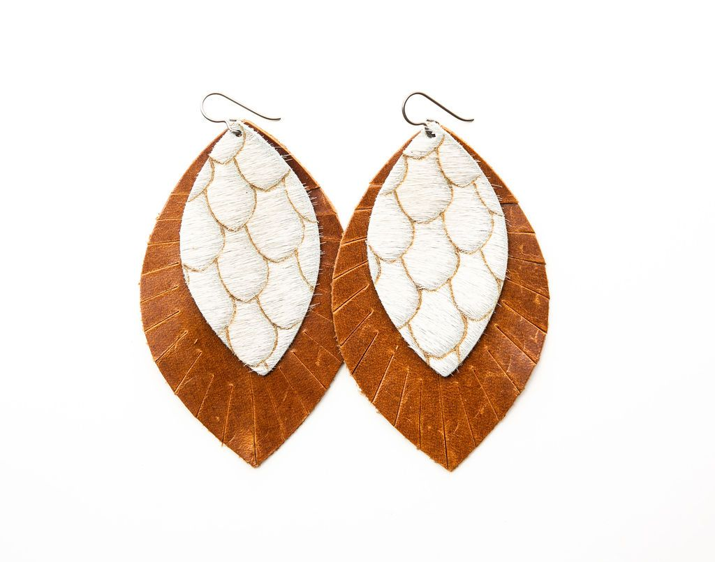 Scalloped in Taupe & Cream with Brown Fringe Base | Double Layer Leather Earrings
