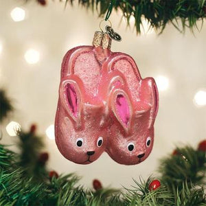 Bunny Slippers Glass Ornament