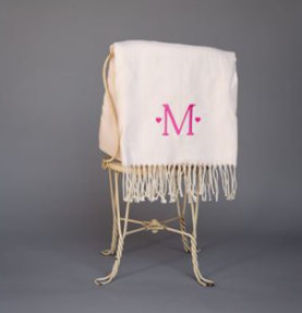 Monogrammed Solid Plush Cotton Throw