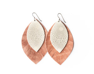 Starburst Platinum with Blush Fringe Base | Double Layer Leather Earring