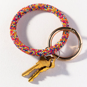 Multi Color Seed Bead Key Ring - 2 colors