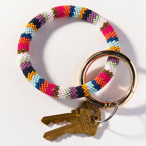 Stripe Seed Bead Key Ring - 4 colors