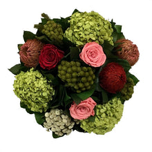 Load image into Gallery viewer, Pink & Red Roses, Basil Hydrangea Arrangement