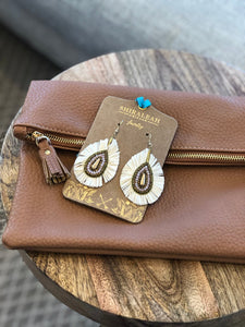 Clutch & Earring Combo - Tan & Ivory