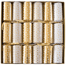 Load image into Gallery viewer, Small Dots Gold And White Christmas Crackers - 6 Per Box