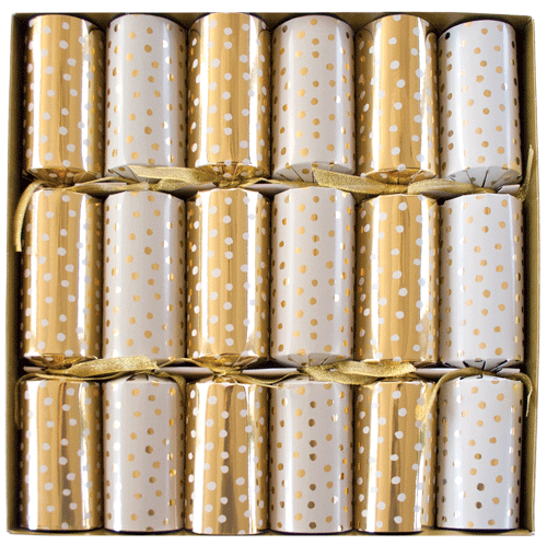 Small Dots Gold And White Christmas Crackers - 6 Per Box
