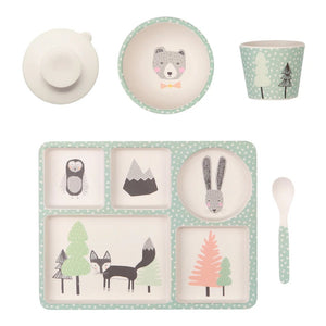 Fox Friends Bamboo Divided Plate Set