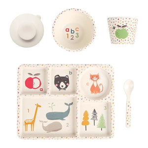 ABC Bamboo Divided Plate Set