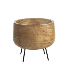 Load image into Gallery viewer, Mango Wood Bowl on Metal Stand