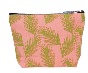 Palm Fronds Pink Relaxed Large Canvas Pouch