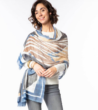 Load image into Gallery viewer, Kaleida Tan Oversized Jacquard Wrap/Scarf