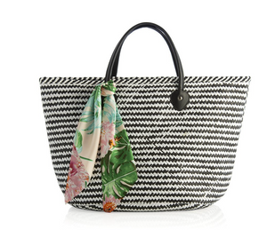 Tessa Vegan Tote with Scarf in Black or Natural