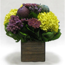 Load image into Gallery viewer, Violet Multicolor Arrangement in Wooden Cube