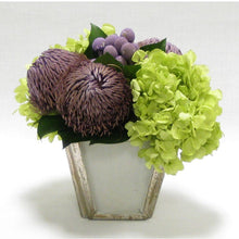 Load image into Gallery viewer, Small Lavender Brunia/Banksia & Basil Hydrangea Arrangement