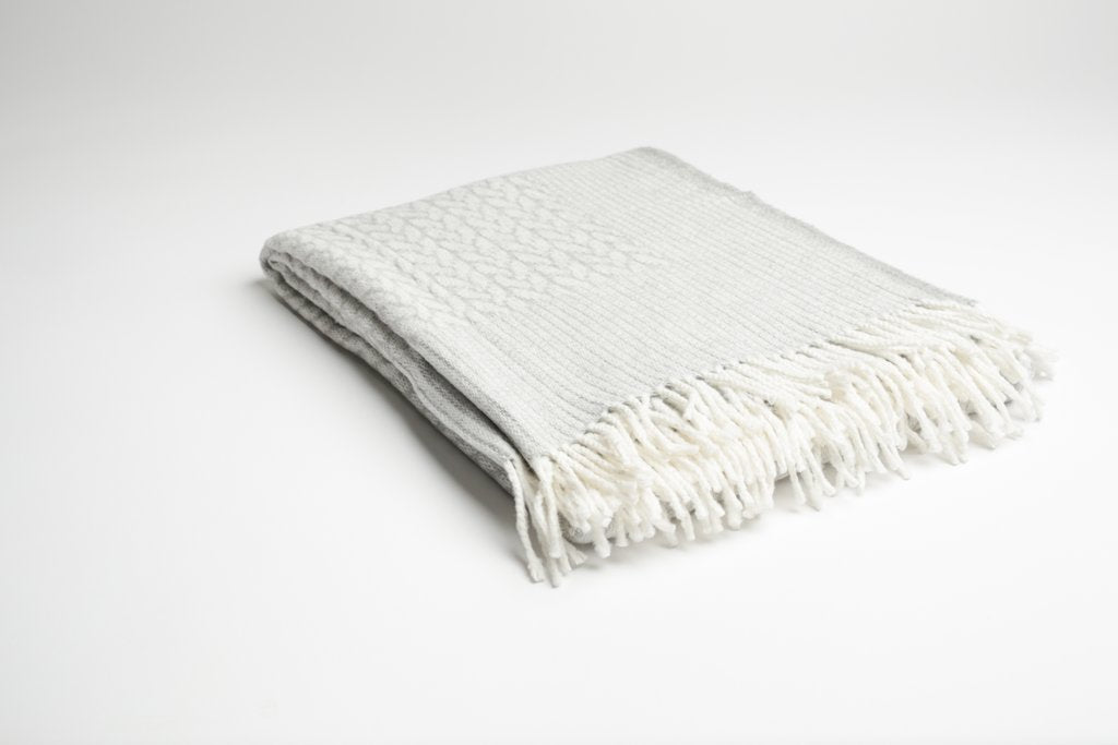 Light Grey Classic Cable Throw