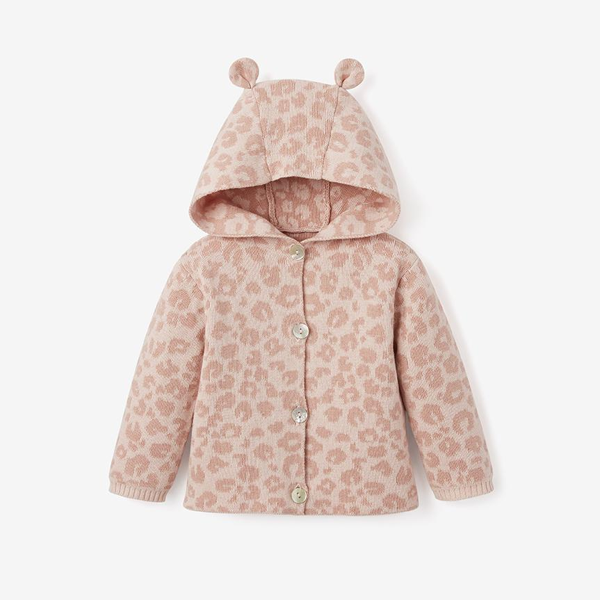 Pink Leopard Hooded Knit Baby Sweater - 2 sizes