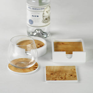 Set of 4 Burl Wood Coasters in White Tray: Round or Square