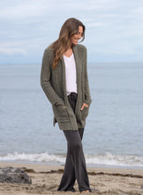 Load image into Gallery viewer, Barefoot Dreams Olive/Loden Cozychic Lite Cable Cardi