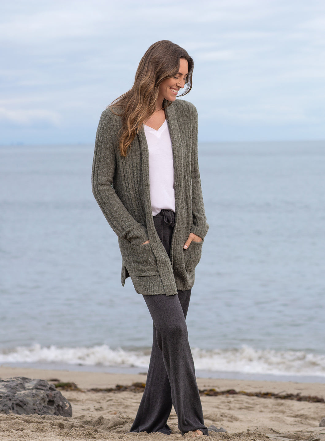 Barefoot Dreams Olive/Loden Cozychic Lite Cable Cardi