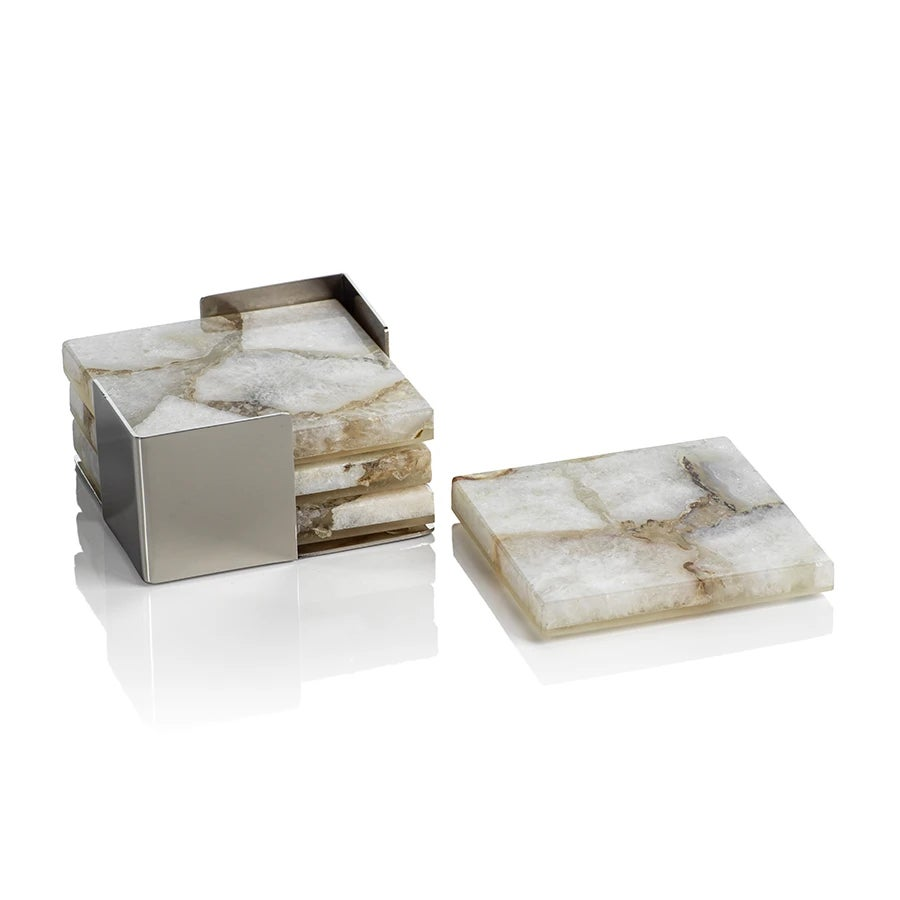 Crete Agate Coasters on Metal Tray - Set of 4 - Taupe / White
