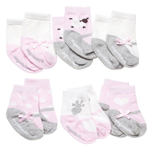 Pink & Blue Cutie Cotton Baby Socks - 6 Pack