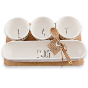 Dip Bowl Wood Tray Set