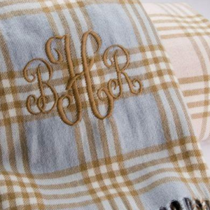 Monogrammed Plaid Receiving & Crib Blanket