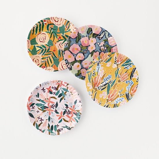 Set of 4 Melamine Floral Plates