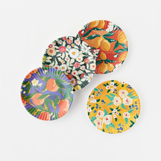 Set of 4 Fruit & Floral Melamine Plates