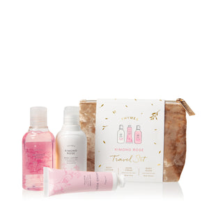 Thymes Kimono Rose Travel Set:  Body Lotion, Hand Cream & Body Wash