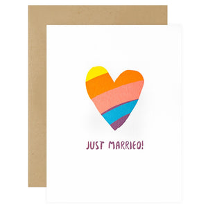 Rainbow Heart Wedding Greeting Card