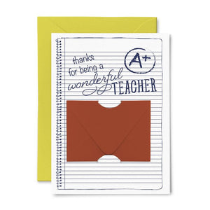A+ Teacher Gift Card Holder Greeting Card