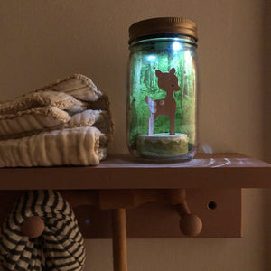 Mason Jar Solar Lights - Fawn & Bird