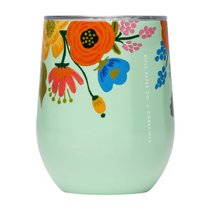 "Rifle Paper Company ""Lively Floral Mint"" Canteen, Tumbler and Stemless Wine Cup"