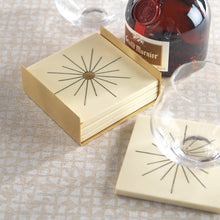 Load image into Gallery viewer, Modern Salé Set of 4 Coasters with Brass Sun Inlay on Stand - Ivory White