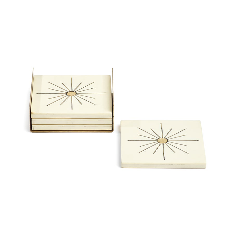 Modern Salé Set of 4 Coasters with Brass Sun Inlay on Stand - Ivory White