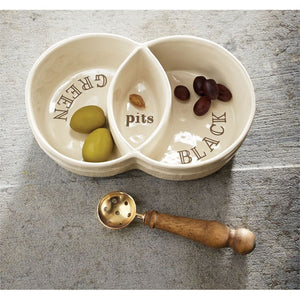 Sectioned Olive Boat Set