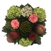 Load image into Gallery viewer, Banksia, Pink & Red Roses, Basil Hydrangea Arrangement