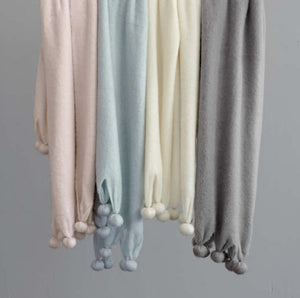 Pom Pom Throws - Robin's Egg Blue, Slipper Pink, Grey and Ivory