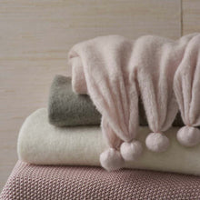 Load image into Gallery viewer, Pom Pom Throws - Robin's Egg Blue, Slipper Pink, Grey and Ivory