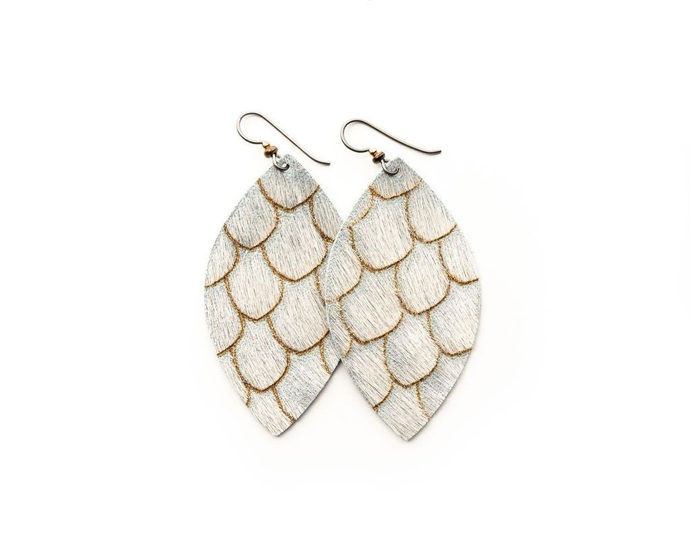Scalloped Leather Taupe & Cream Earrings