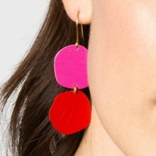 Load image into Gallery viewer, Scarlet Magenta Brass Circle Earring
