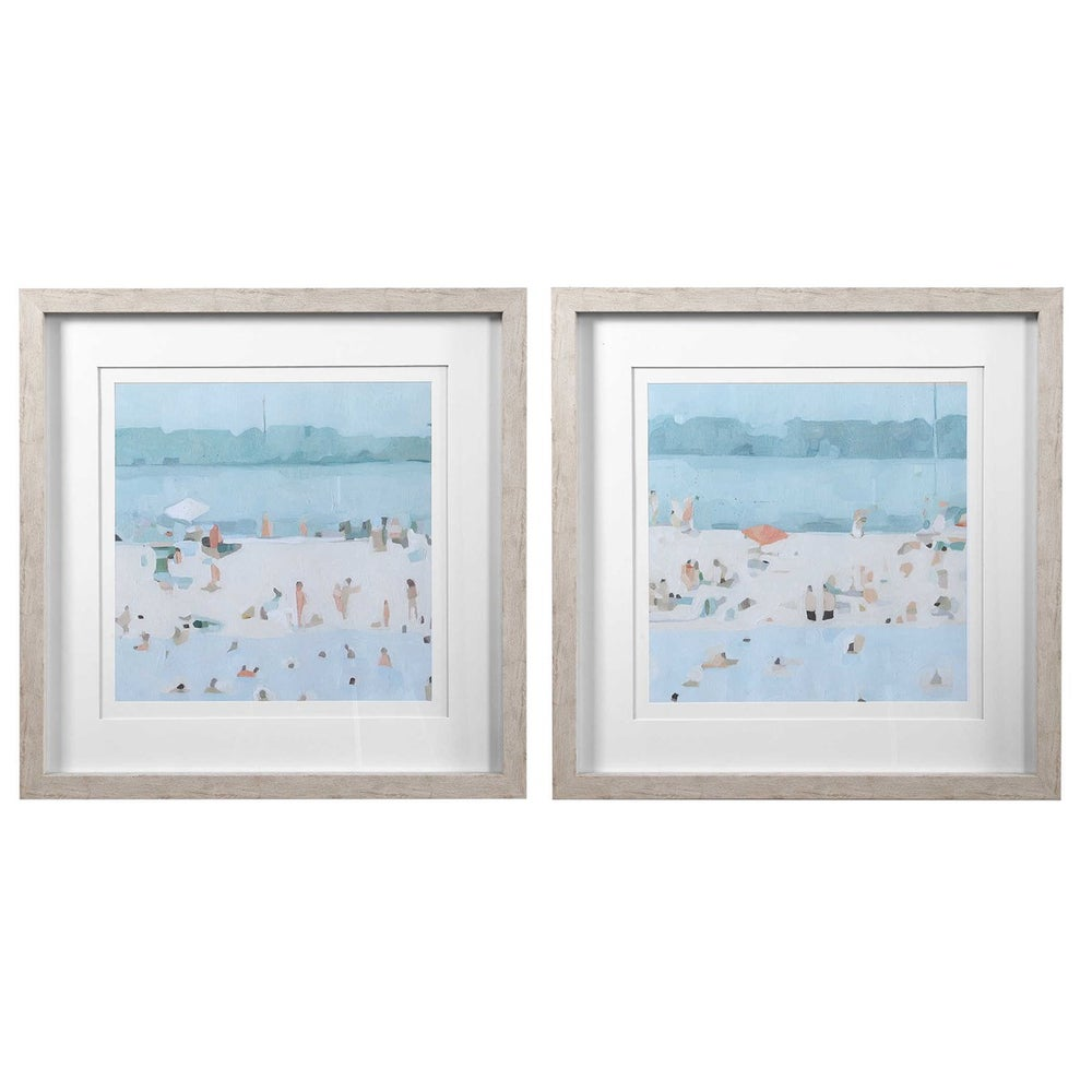 Sea Glass Sandbar Framed Prints - Set of 2