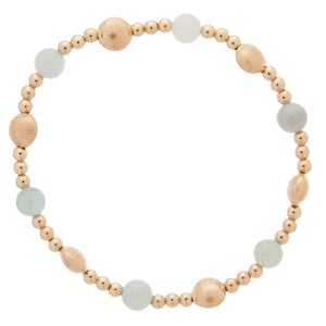 Honesty Gold Sincerity Pattern 6mm Bead Bracelet - Aquamarine