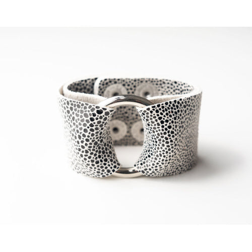 Black On White Speckled Wide Leather Cuff