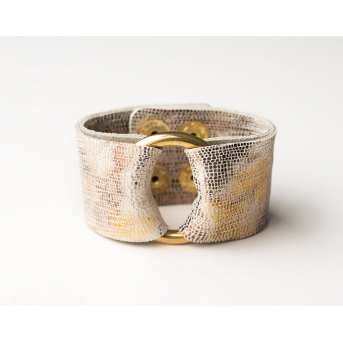 Gold & Bronze Shimmer Wide Leather Cuff